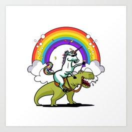 Unicorn Riding T-Rex Party Dinosaur Colorful Rainbow Art Print