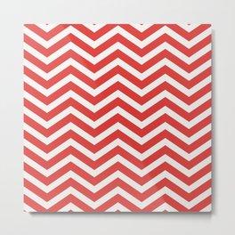 Nautical chevron pattern red Metal Print
