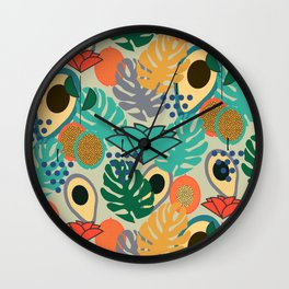 Monstera, fruits and flowers Wall Clock