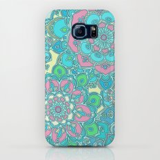 Candy Doodles, floral doodles in pink and blue Galaxy S8 Slim Case