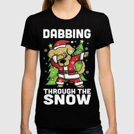Golden Retriever Dabbing Through The Snow Christmas T-shirt