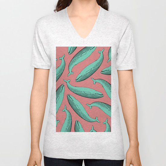 calm whale pattern Unisex V-Neck