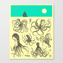 Seascape (with Octopodes) Canvas Print