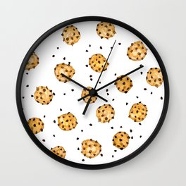 Modern chocolate chips cookies watercolor pattern Wall Clock