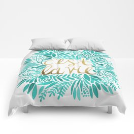 That's Life – Turquoise & Gold Comforters