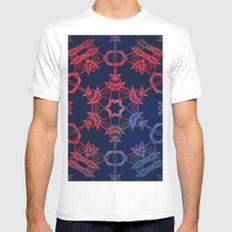 Blue and red glow tribal mandala MEDIUM White Mens Fitted Tee