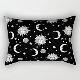 Linocut black and white sun moon and stars outer space zodiac astrology gifts Rectangular Pillow