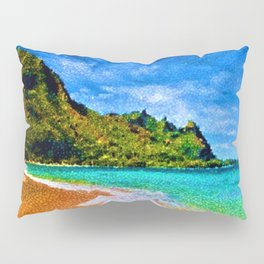 Pacific Isles, A Landscape Painting by Jeanpaul Ferro Pillow Sham