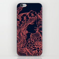 Woman with an Orchid Crown - navy and pink iPhone & iPod Skin
