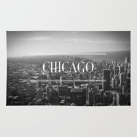 chicago Area & Throw Rugs featuring Chicago by Pauline Forgeard-Grignon
