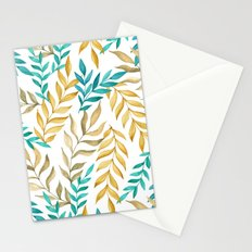 Tropical leaves (yellow and blue). Watercolor Stationery Cards