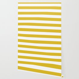 Durian Yellow - solid color - white stripes pattern Wallpaper