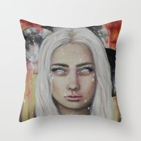 coven Throw Pillows featuring Blood on the Moon by Bella Harris