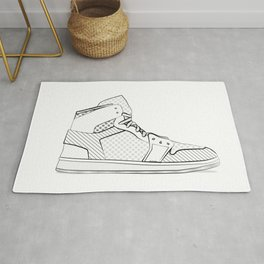 sneaker illustration pop art drawing - black and white graphic Rug