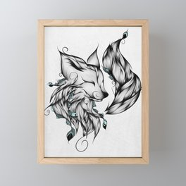 Fox B&W Framed Mini Art Print
