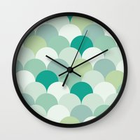 scales Wall Clocks featuring SCALES by Sarah Stark