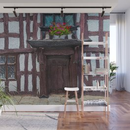 Flowers Over Doorway of Half-Timbered House Wall Mural