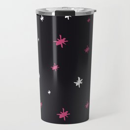 Hand painted black pink white modern abstract stars Travel Mug