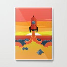 Rocket in Retro Style Metal Print