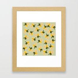 Yellow Citrus Lemon Fruit on Pale Lime Green Framed Art Print