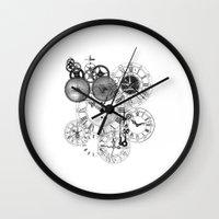 clockwork Wall Clocks featuring Clockwork by VectoriaDesigns