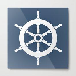 Navy Nautical Ship Wheel Metal Print
