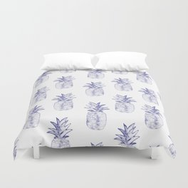 Blue Pineapple Duvet Cover