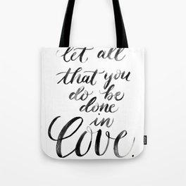 """Done in Love"" watercolor lettering Tote Bag"