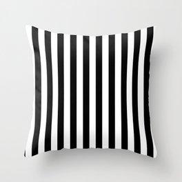 Black and White Even Small Stripes Throw Pillow
