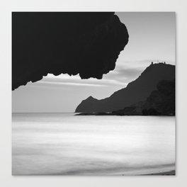 Half Moon Beach. Vela Tower Cliff. Bw Canvas Print