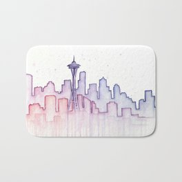 Seattle Skyline Watercolor Bath Mat