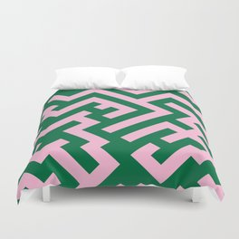 Cotton Candy Pink and Cadmium Green Diagonal Labyrinth Duvet Cover