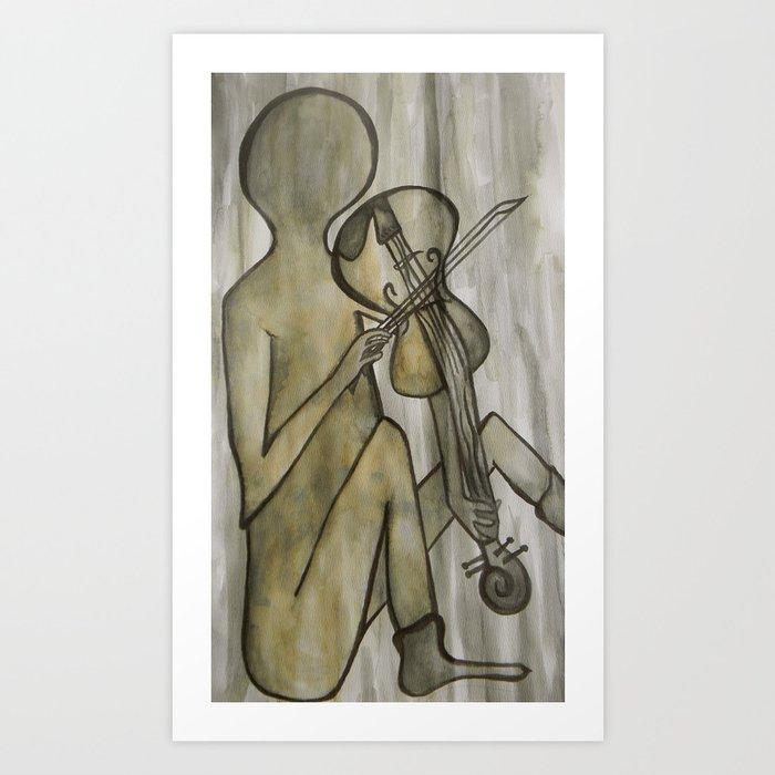 Violinist in Ink Art Print