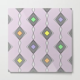 Retro Diamond Pattern - Mid Century, pastel, design Metal Print