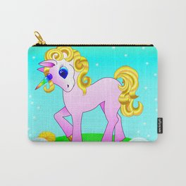 Cute kawaii unicorn with golden mane in a green meadow with dandelions Carry-All Pouch