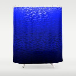 Sharks In A Blue Hue Shower Curtain
