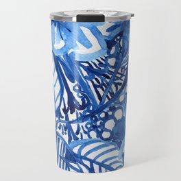 Blue summer floral pattern Travel Mug