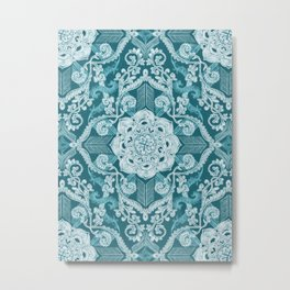 Centered Lace - Teal  Metal Print