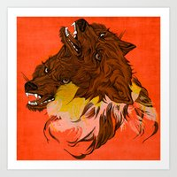 wolves Art Prints featuring Wolves by Sarah Howell