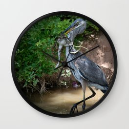 Great Blue Heron Catching Huge Frog - 2 Wall Clock