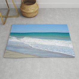 Sandy beach and Mediterranean sea Rug