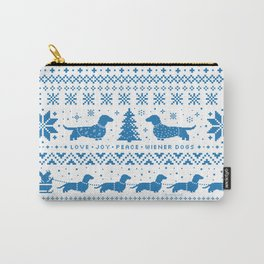Love Joy Peace Wiener Dogs Blue Pattern Carry-All Pouch