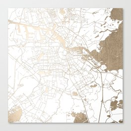 Amsterdam White on Gold Street Map II Canvas Print