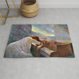 Classical Masterpiece 'Al Piano' by Lionello Balestrieri Rug