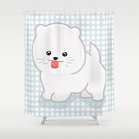 pomeranian Shower Curtains featuring White Pomeranian by Pati Designs