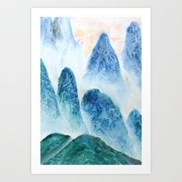 dawn in the mountain forest Art Print