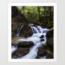 Magical waterfall in gorge Hell Art Print