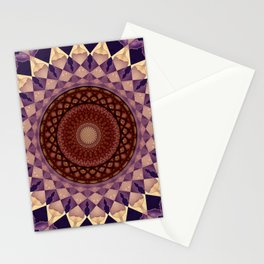 Mandala in beige and violet tones Stationery Cards