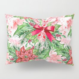 Poinsettia & Candy cane Pillow Sham