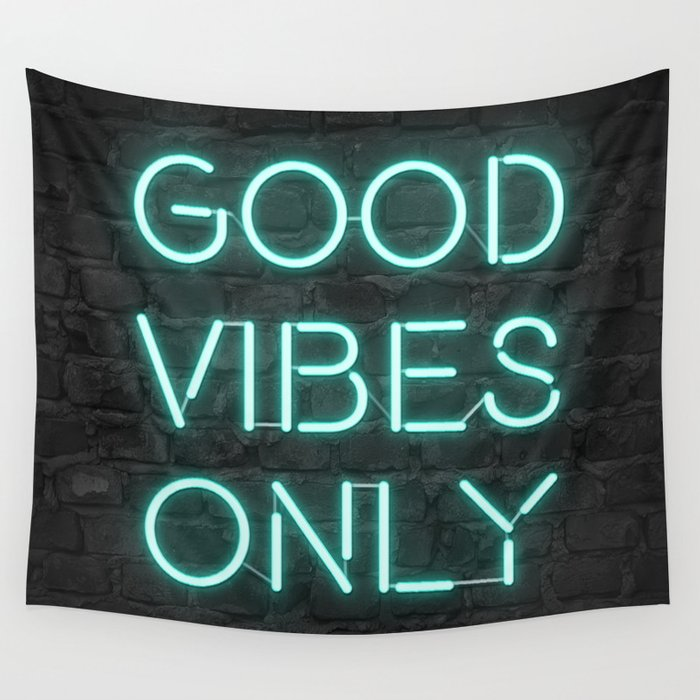 Neon Good Vibes - Teal Wall Tapestry